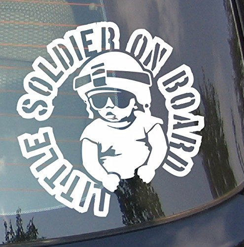 Preisvergleich Produktbild spb87 Little Soldier On Board Baby Auto Drift Bumper Window Funny Vinyl Van Laptop Love Herz Decor Home Live Kids Funny Art Wand Aufkleber Aufkleber Motorrad