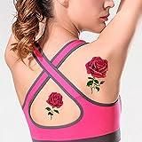 TAFLY Rote Rose Tattoo Falsche Blume Körper Kunst Temporären Tattoo Aufkleber 5 Blätter