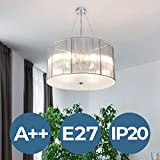 Jago Retro Chandelier Ceiling Light A++ to E, Ø 50cm, 4X E27 max. 40W, Choice of Colours (Silver) | Hanging Pendant Light, Decorative Suspension Lamp