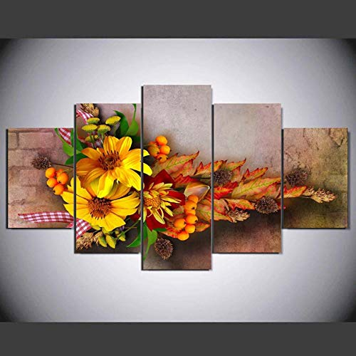 Five Flower (Oofficee Wall Art 5 Pieces Canvasdecorative Oil Painting, Five Flowers, L)