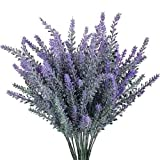 4 Pezzi di Artificiale Affollano Bouquet di Plastica, Finto Fiore Pianta Arbusto Decorazione Matrimoniale con Fiori Viola Attraverso Indoor e Outdoor