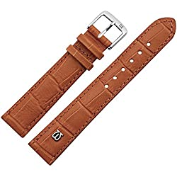 20mm Brown Leather Watch Strap Matte Print, Alligator, made in Germany-Frosted Colour & Alligator Effect-MARBURGER Watch Band Watch Strap with MARBURGER Logo Since 1945Matt Gold/Brown/Silver