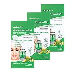 aspUraclip Mini-Inhalator fresh (3er Pack) | Erster Mini-Inhalator für die Nase | Mit Ölen aus Pfefferminze, Zitrone & Limette | Kann bei Kopfschmerzen, Migräne, oder Übelkeit helfen