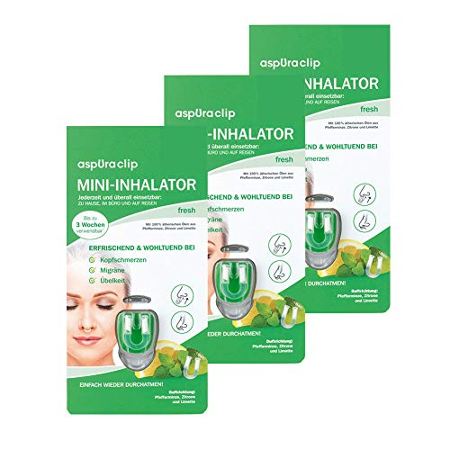 aspUraclip Mini-Inhalator fresh (3er Pack) | Erster Mini-Inhalator für die Nase | Mit 100% Bio-Ölen aus Pfefferminze, Zitrone & Limette | Kann bei Kopfschmerzen, Migräne, oder Übelkeit helfen