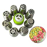 Janolia 12PCS Russian Icing Piping Nozzles, Stainless Steel Cake Frosting Flower Piping Confectioner Piping Bags Cake Decorations Tools Set quantity