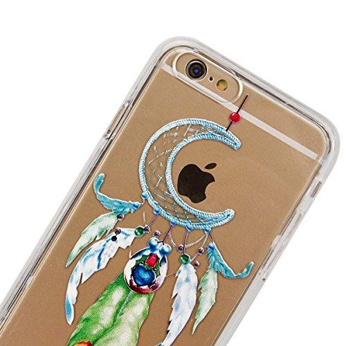 GrandEver Coque iPhone 6 Plus et iPhone 6s Plus Transparente Silicone Gel avec Mandal Noir Motif Fine Design Bumper Utra Mice Soft Doux Flexible Case Etui Cover Housse Attrape Reve 1