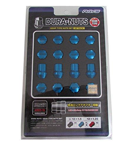 Preisvergleich Produktbild Rays Strahlen Gear Typ Duraluminium Mutter Set kurz M12 x 1, 5 27 mm blau