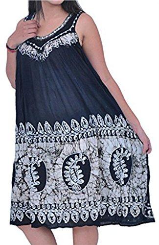 Damen Dame Sommerkleid Regenschirm Schnitt gestickt Cocktail Abend Boho Top Beachwear Tank Kleid Sundress Gypsy Free Size (SCHWARZ WEISS GRAU)