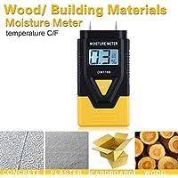 Detector de humedad digital de 2 pines, comprobador de humedad de madera portátil, detección de humedad en troncos de madera de leña, paredes de caravana, hormigón, pantalla LCD digital, amarillo