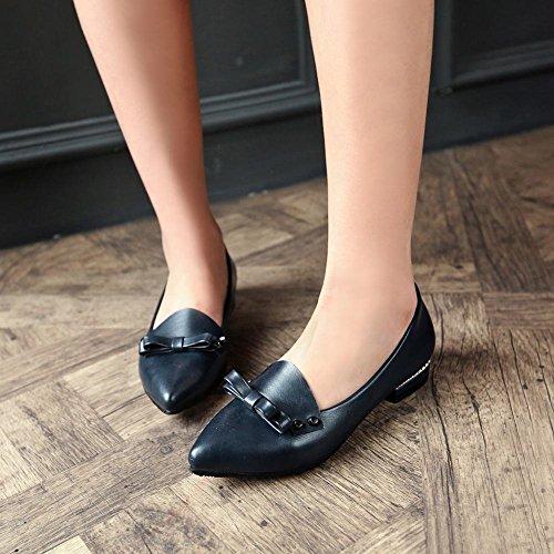 Mee Shoes Damen modern elegant bequem spitz mit Schleife Niedrig Geschlossen Pumps Dunkelblau