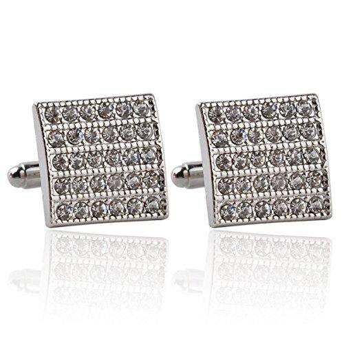 Mode Strass Manschettenknöpfe Quadratisch Französisch Manschetten Elegant,Silver-M