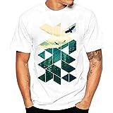 Herren Sommer Shirt Kurzarm-Shirt Fashion Regenschirm Drucken T-Shirt T Shirt Bluse,Hevoiok Mode Männer Lässig Top Oberteile 100% Baumwolle (Weiß A, M)