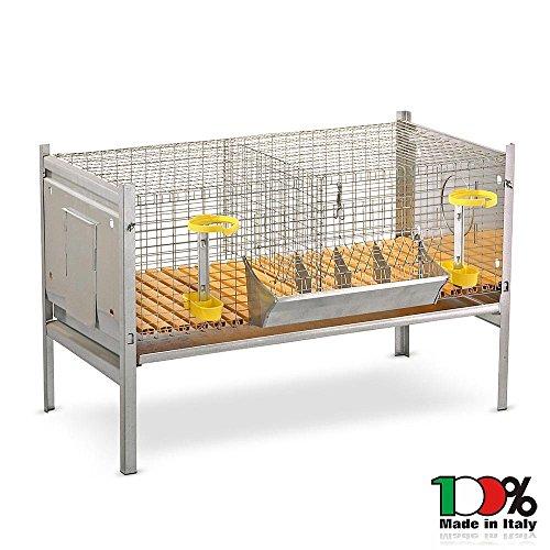 Mistermoby gabbia per conigli completa conigliera doppia smontabile senza nidi 100x66xh66