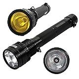 AGM Lampe Torche à Xénon HID 85W 8500 Lumens Lampe de Poche rechargeable étanche longue portée de 2000m et 3 modes de luminosité Ultra puissante pour pêche, randonnée, camping (Batterie chargeur inclus)