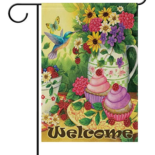 HujuTM Spring Summer Bird House Flag 18 x 27 Inches, Hummingbird Mulberry Daisy Flowers Cake Garden Yard Flags Welcome Outdoor Indoor Banner for Party Home Decoration -