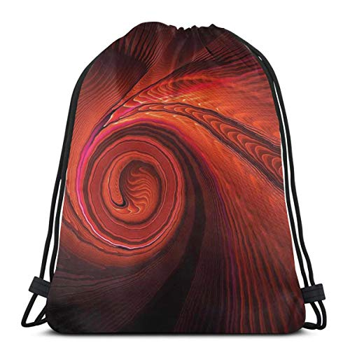 GONIESA Drawstring Backpack Unisex Bag For Gym Traveling, Spooky Spiral Form In Darkness with Digital Effects Perplexed Dreamy Place Image