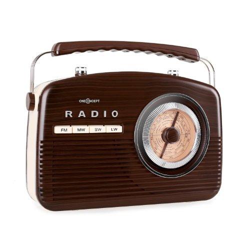 oneConcept NR-12 Retro-Radio Kofferradio (50er Jahre Stil, Tragegriff, Netz-und Batterie-Betrieb) dunkelbraun-beige