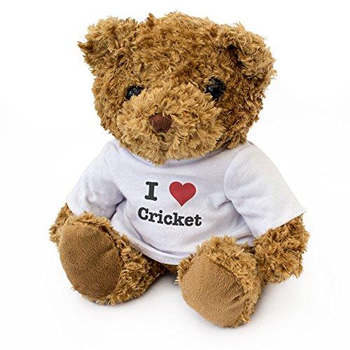 - I LOVE CRICKET - Braun Teddybär - Niedlich Weich Kuschelig - Geschenk Geburtstag Weihnachten -