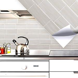 Grandora Fliesenaufkleber 4er Set 28,6 x 25,3 cm cremeweiß Ziegel I 3D selbstklebend Fliesen Küche Bad Wandaufkleber Fliesendekor Mosaik Küchenfliesen W5416