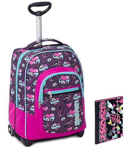 Trolley bambina seven + cartellina a4 - rosa viola azzurro - spallacci a scomparsa! zaino 35 lt scuola e viaggio