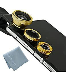 Elfenstall 3 in 1 Clip-On Kamera Adapter Optische Weitwinkelobjektiv FishEye Fischauge Objektiv Linse & Micro Objektiv Linsen - Fischaugenobjektiv + Weitwinkel + Mikroobjektiv für ihr Smartphone Handy oder Tablet - Universal Clip für Apple Iphone 4 / 4S / 4G / 5 / 5G / 6 / Iphone 6 plus i Phone 7-Samsung Galaxy Tab 3 10.1 (Wi-Fi) GT P5210 Samsung Galaxy Note PRO SM-P900 - Samsung Galaxy NOTE 2 1 3 N7100 I9300 S4 S3 S5 I9600 - IPAD Ipod 5s Samsung Galaxy s3 i9300 s2 in der Farbe gold