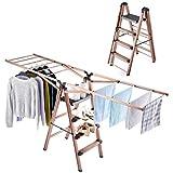 Rackaphile Wäscheständer Leiter 2 in 1, standfester Wäschetrockner aus Aluminium, faltbar, einfach zu Tragen durch Enge Türen, perfekt für Lange Kleidungsstücke, Schuhe, Handtücher