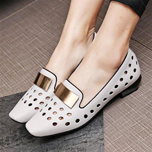 Les Chaussures À Talons Bas Crus Avec Les Chaussures Simples Chaussures Vides Tête Carrée Respirant Gris Clair