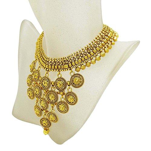GoldTone traditionnel collier de mariage ensemble de boucle d'oreille bollywood bijoux pour elle or