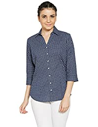 Bombay High Women's 100% Cotton Printed 3/4 th Sleeves Formal Shirt