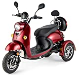 VELECO ZT63 Scooter elettrico 3 ruote per anziani e disabili Seniors Allarme 650W ROSSO