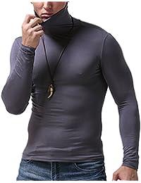 Maglia Termica a Collo Alto per Uomo Tinta Unita Maniche Lunghe Maglietta  Invernale Caldo Morbido Tops f247b0b7c8e4