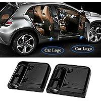 2 Pcs Universal inalámbrico de coche para lámpara de proyector de LED Puerta sombra Bienvenido Luz Laser Emblema Logo Lamps Kit, sin necesidad de Taladrar