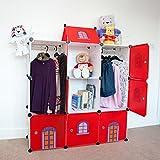 Castle Cubes - Kids Room Tidy Storage Boxes Warddrobe Toy Chest Trunk Children Bookshelf - 9 Red Castle Cubes