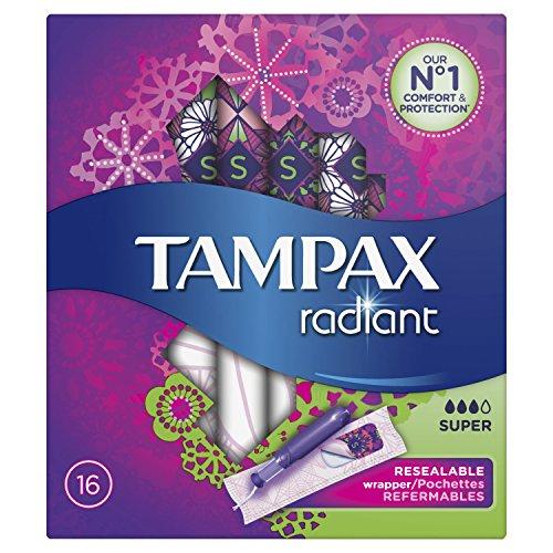 Tampax Radiant Super Tampons mit Applikator 16Beste für Schutz/Diskretion Komfortable-Lot de 3 - Tampax Radiant Tampons