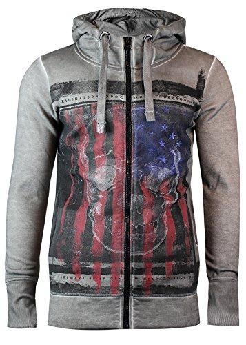 trueprodigy Casual Herren Marken Sweatjacke mit Aufdruck, Oberteil cool und stylisch mit Kapuze (Langarm & Slim Fit), Hoodie für Männer bedruckt Farbe: Dunkelgrau 2563103-5203 Dark Grey