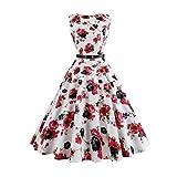 TEBAISE Sommer Klassischen Stil Frauen Vintage Printing Bodycon Feast Schlank Sleeveless Halter Abendgesellschaft Prom Swing Kleid Layered Rock(Weiß2,EU-38/CN-L)