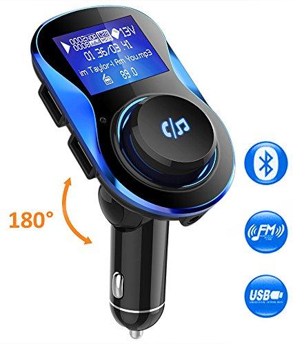 Bluetooth Transmisor FM VPROOF Manos Libres Para Coche, Inalámbrico 180°Rotación Reproductor MP3 Mechero Coche 1.4 Pulgadas 5V/2.1A & 1A Dual USB Tarjeta del TF U Disco con Puerto de 3.5mm Audio (Negro)