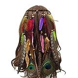 Bohémien Paon Hippie Bandeau Plume Perle Forepin® Femme Filles Headbands de Plumes Indiennes Bande de Cheveux Mode Cosplay Déguisement