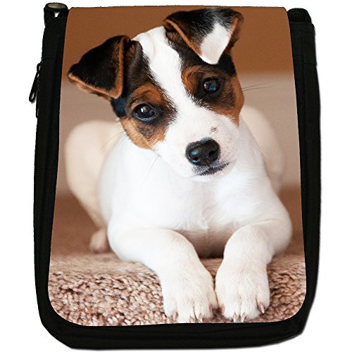 Jack Russell Terrier-Borsa a tracolla in tela, colore: nero, taglia: M Nero (Jack Russell Terrier Puppy)