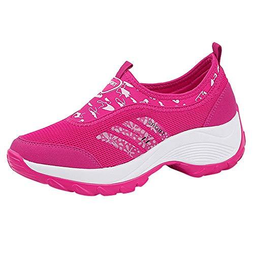 Fenverk Frau Sport Atmungsaktiv Schuhe Trainer BeiläUfig Laufen Sportlich Gehen Joggen Fitnessstudio Turnschuhe Leicht Mode Stiefel(Pink,40EU)