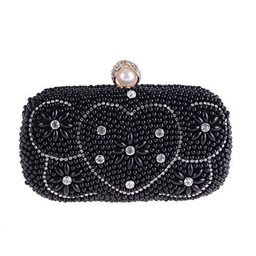 Frauen Perle Abendtasche Mit Strass Bankett Clutch Bag Handtasche Messenger Bag Hochzeitsgeschenk Perlenstickerei Kette Umhängetasche U10 (Farbe : Black) ()