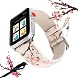 X-Cool Apple Watch Bracelet 44mm 42mm Blanc Fleur de Prunier Cuir Bracelet de...