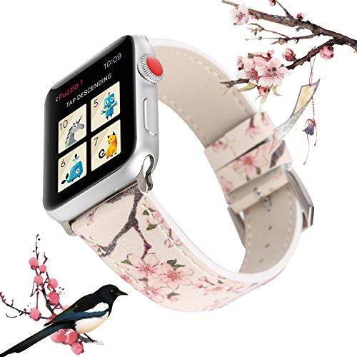 X-cool für Apple Watch 38mm 40mm Armband, Schwarze Pflaumenblüte Leder Armband für Damen Frauen, für iwatch Series 4 Series 3 Series 2 Series 1 (38mm, Weiße Blume)