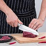 Mascot XM Santokumesser Küchenmesser Japanisches Kochmesser Sushi Messer 17CM Hohle Schneide Geschmiedetes Messer Deutscher HC Edelstahl mit Ergonomischem Griff für Haus und Restaurant - 4