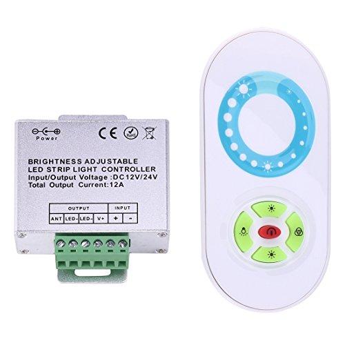 Light Controller, SX-022RF Contrôleur de bande LED sans fil RF à canal unique avec télécommande demi-touche 5 touches, DC 12-24V