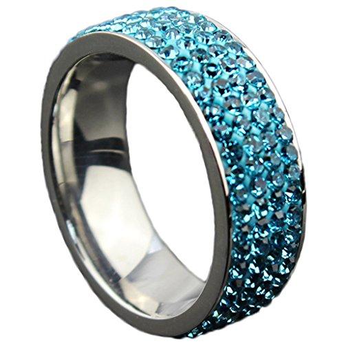 Unisex Acciaio inox Classic Sticky CZ Set Blu Wedding Bands 7MM Dimensione 10 di (14k Diamante Tiffany Anello Setting)
