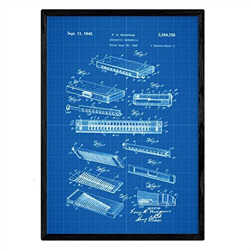 Nacnic Poster Patent Harmonika. Blatt mit altem Design-Patent A3-Format mit blauem Hintergrund