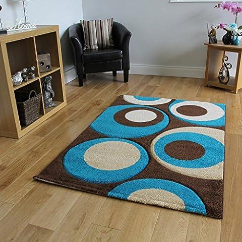 Tappeto per soggiorno, spesso e robusto, colori: marrone scuro e blu foglia di tè - 180 cm x 270 cm (5'11