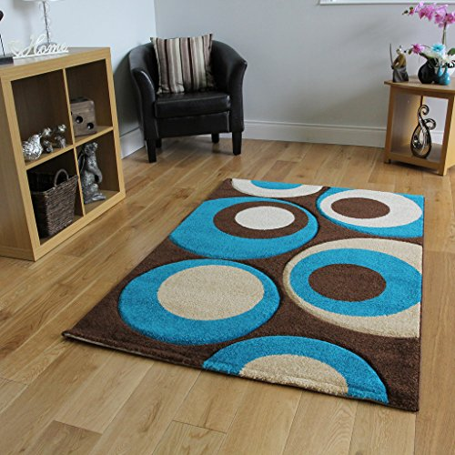 Havana 915 Thick Chocolate Brown and Teal Blue Living Room Rug 180 cm x 270 cm (5'11