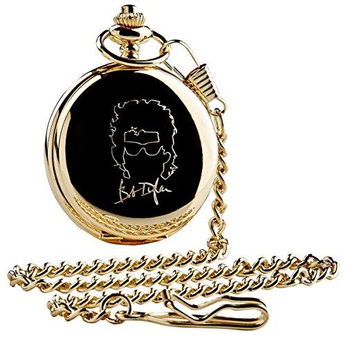 Bob Dylan SIGNED Gold Taschenuhr und Kette Luxus 24Karat vergoldet in Holz Geschenkbox Fall Sammler Geschenk -